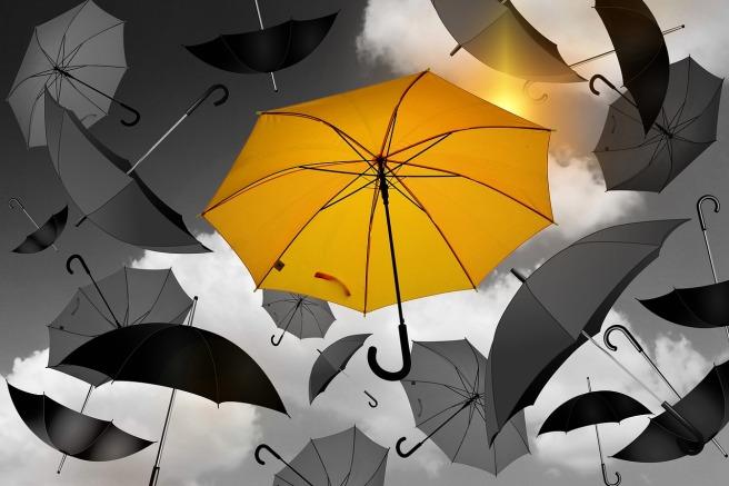 jedna złota parasolka wśród wielu szarych